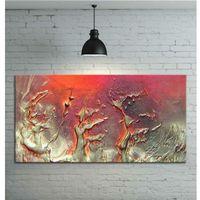 Obrazy, Obraz ręcznie malowany - grube złote faktury przeplatane z fioletem i różem 120x60 rabat 15%