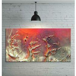Obraz ręcznie malowany - grube złote faktury przeplatane z fioletem i różem 120x80 rabat 15%