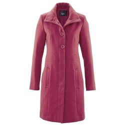 Krótki płaszcz z materiału w optyce wełny bonprix czerwony purpurowy