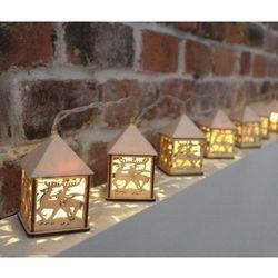 Lampiony LED drewniane 10 sztuk sterowane pilotem