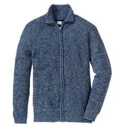 Sweter rozpinany Regular Fit bonprix matowy niebieski - ciemnoniebieski melanż