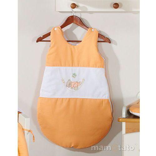 Śpiworki dla niemowląt, MAMO-TATO Śpiworek haftowany Miś w hamaku w łososiu