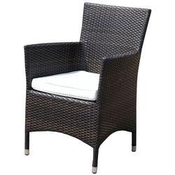 Krzesło ogrodowe rattan ciemnobrązowe poducha biała ITALY
