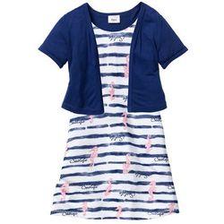 Sukienka + bolerko (2 części) bonprix biało-niebieski wzorzysty