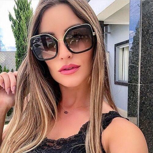 Okulary przeciwsłoneczne, Okulary przeciwsłoneczne damskie czarne złote duże