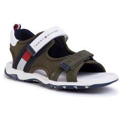 Sandały TOMMY HILFIGER - Velcro Sandal T3B2-30740-0937 S Military Green/White X490