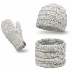Komplet PaMaMi, czapka, komin, rękawiczki - Off-white