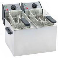 Frytownice gastronomiczne, Frytownica elektryczna, 2-komorowa 2x 5 l, nastawna, 6,4 kW, 390x425x320 mm | ROLLER GRILL, 777323