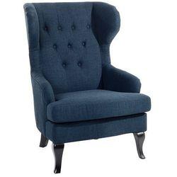 Fotel ciemnoniebieski - tapicerowany - pikowany - do salonu - ALTA