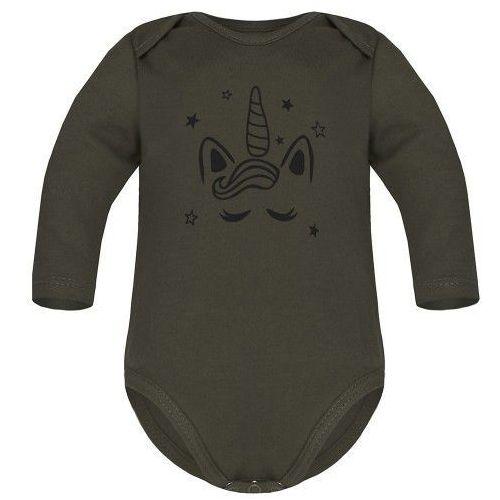Body niemowlęce, Dziecięce body długi rękaw khaki - Jednorożec