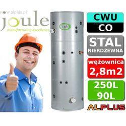 JOULE CYCLONE do pompy ciepła 250L / 90L TANK-ON-TANK nierdzewny zbiornik na zbiorniku, bojler 250 litrów z wężownicą do pompy ciepła 2,8m2 i buforem 90 litrów, aż 2 grzałki 3kW, 195cm x 60cm, wysyłka gratis