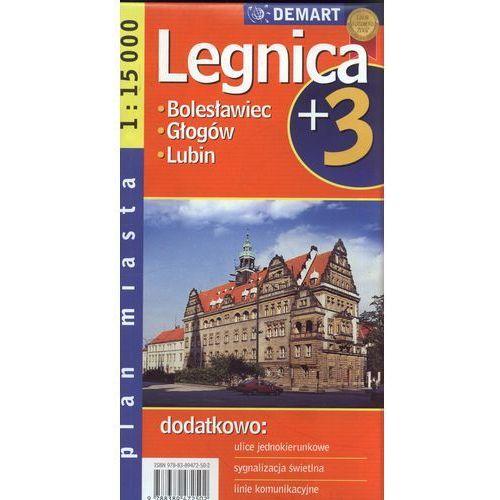 Mapy i atlasy turystyczne, Legnica plus 3 mapa 1:15 000 Demart (opr. miękka)
