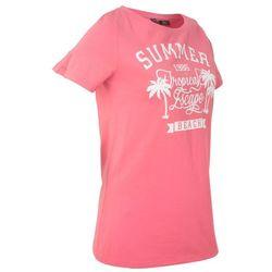 T-shirt z szerokim okrągłym dekoltem, krótki rękaw bonprix jasnoróżowy z nadrukiem