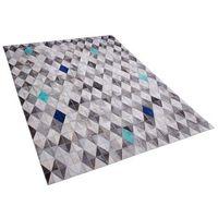 Dywany, Dywan skórzany szaro-niebieski 160 x 230 cm TERIMLI