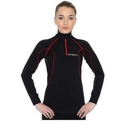 Bluzka damska Brubeck ACTIVE rozpinana z krótkim suwakiem - Czarno-czerwony