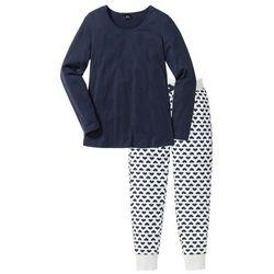 Piżama, bawełna organiczna bonprix naturalny melanż - ciemnoniebieski z nadrukiem