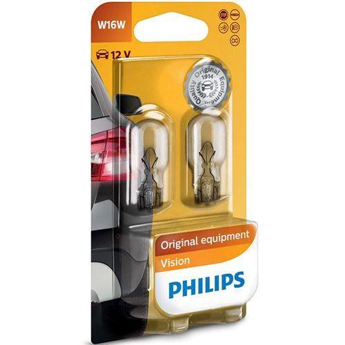 Pozostałe oświetlenie samochodu, Żarówki Philips® W16W Vision | 12V 16W W2,1x9,5d | Blister 2 szt.