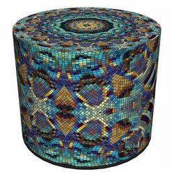 Okrągła tapicerowana pufa ozdobna 4 wzory - Adelos 9X