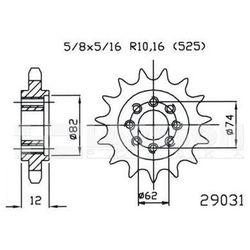 Zębatka przednia JT 50-29031-22, 22Z, rozmiar 525 2201284 Gilera GP 800