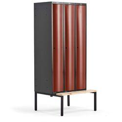 Metalowa szafa ubraniowa CURVE, z ławeczką, 3x1 drzwi, 2120x900x550 mm, czerwony