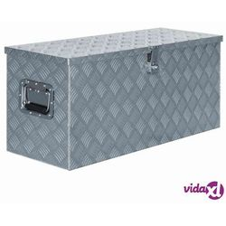 vidaXL Aluminiowa skrzynia, 90,5 x 35 x 40 cm, srebrna Darmowa wysyłka i zwroty