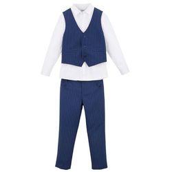Komplet chłopięcy 3-częściowy: koszula + kamizelka + spodnie bonprix kobaltowo-biały