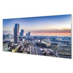 Obrazy na szkle Warszawa Panorama wieżowce wschód słońca