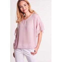 Jasnoróżowa bluzka z szerokim, motylkowym rękawkiem - Duet Woman