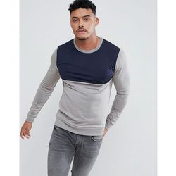 ASOS DESIGN Muscle Retro Track Sweatshirt In Grey With Navy Colour Blocking - Grey