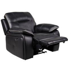 Skórzany fotel z regulowaną elektrycznie funkcją relaks CATANE - Czarny z jasnoszarą lamówką