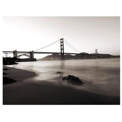 Fototapeta - San Francisco: Most Golden Gate w czerni i bieli