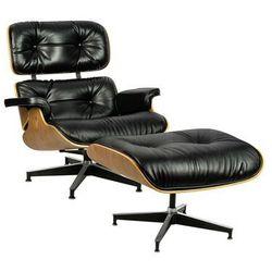 Fotel LOUNGE HM SOFT PREMIUM SZEROKI z podnóżkiem czarny - sklejka orzech, skóra naturalna