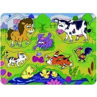 Pozostałe zabawki dla najmłodszych, Brimarex Puzzle drewniane z pinezkami TOP BRIGHT - Na łące, 8 elementów