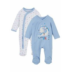 Pajacyk niemowlęcy (2 szt.), bawełna organiczna bonprix niebieski