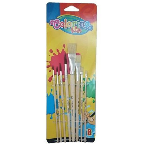 Pozostałe artykuły plastyczne, Pędzelki Szkolne Colorino Kids Blister 8 Sztuk