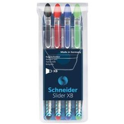 Zestaw długopisów SCHNEIDER Slider Basic, XB, 4 szt., miks kolorów podstawowych
