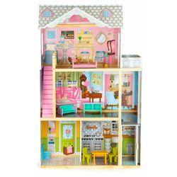 Drewniany domek dla lalek z windą, drewniane mebelki w zestawie darmowa dostawa
