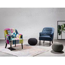 Fotel niebieski patchwork - fotel wypoczynkowy - do salonu - tapicerowany - MANDAL