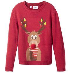 Sweter chłopięcy z bożonarodzeniowym motywem bonprix ciemnoczerwony