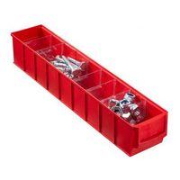Pojemniki przemysłowe, Plastikowy pojemnik do regału Shelfpoj., 91 x 500 x 81 mm, czerwony