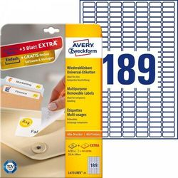 Usuwalne etykiety uniwersalne Avery Zweckform A4 30ark./op. 25,4x10mm białe