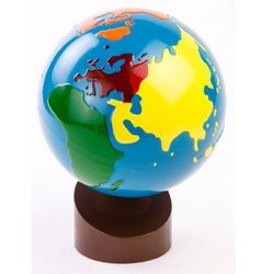 Montessori globus - kolorowe kontynenty