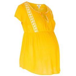 Tunika ciążowa z nadrukiem bonprix żółty szafranowy - biały z nadrukiem