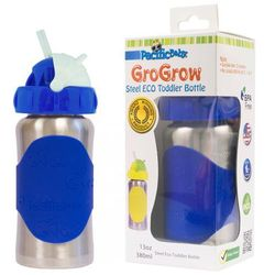 PACIFIC BABY Butelka ze słomką GroGrow - 380 ml - Srebrno niebieska - BEZPŁATNY ODBIÓR: WROCŁAW!