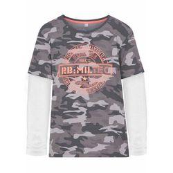 Shirt chłopięcy z efektem dwuwarstwowego, bawełna organiczna bonprix szary moro