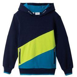 """Bluza z kapturem """"colour-blocking"""" bonprix ciemnoniebiesko-ciemnoturkusowo-zieleń łąki"""