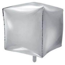Balon foliowy sześcian srebrny - 35 cm - 1 szt.