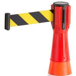 Głowica z taśmą na pachołek drogowy, 3000 mm, czerwony, żółto-czarna taśma