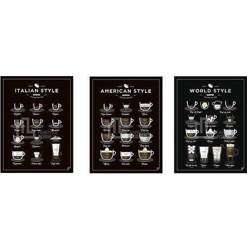 Plakaty, Plakat American, World, Italian Style Coffee 3 szt. 40 x 50 cm