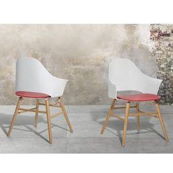 Krzesło biało-czerwone - Krzesło do jadalni, salonu - BOSTON